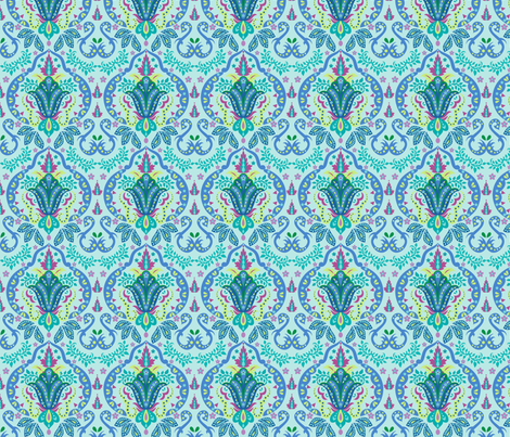 Mod Floral Damask Deco Turquoise Teal fabric by phyllisdobbs on Spoonflower - custom fabric