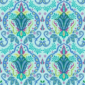 Mod Floral Damask Deco Turquoise Teal