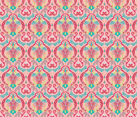Mod Floral Damask Deco Coral Orange fabric by phyllisdobbs on Spoonflower - custom fabric