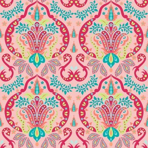 Mod Floral Damask Deco Coral Orange
