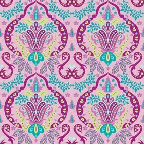 Mod Floral Damask Deco Magenta Pink