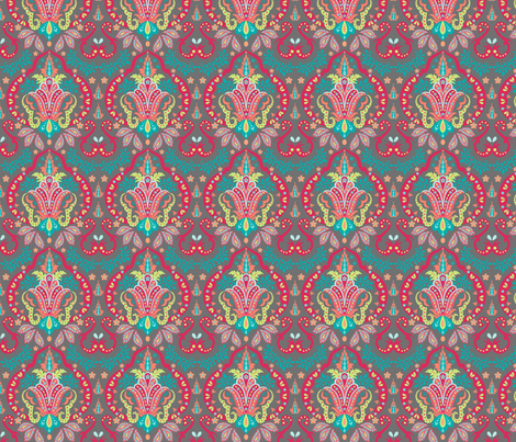Mod Floral Damask Gray fabric by phyllisdobbs on Spoonflower - custom fabric