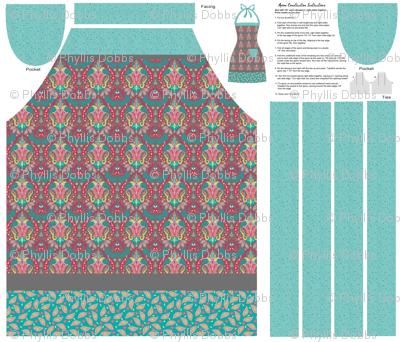 Mod_Mod Deco Floral Damask Gray Cut Sew Apron