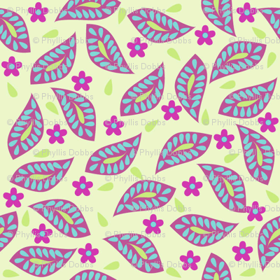 Mod Floral Damask Leaves Green Magenta