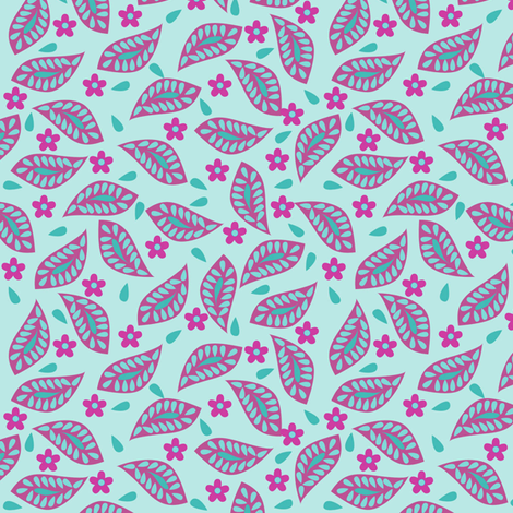 Mod Floral Damask Leavers Turquoise Magenta fabric by phyllisdobbs on Spoonflower - custom fabric