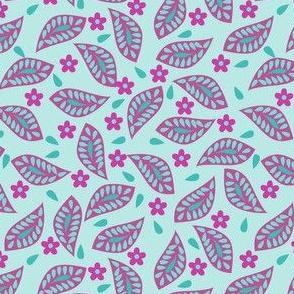 Mod Floral Damask Leavers Turquoise Magenta