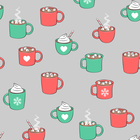 hot cocoa - hot chocolate - red and green on grey fabric by littlearrowdesign on Spoonflower - custom fabric