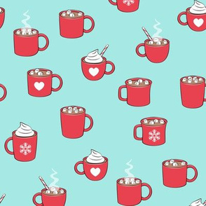 hot cocoa - hot chocolate - red on light aqua
