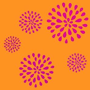 Floral Fireworks-orange and pink