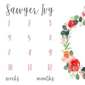 Sage and Ivy Florals Baby Milestone Blanket