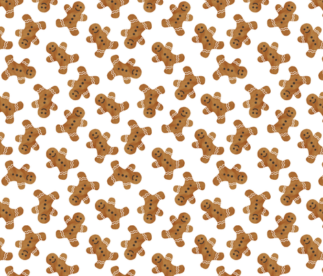 gingerbread man cookie toss - white fabric by littlearrowdesign on Spoonflower - custom fabric