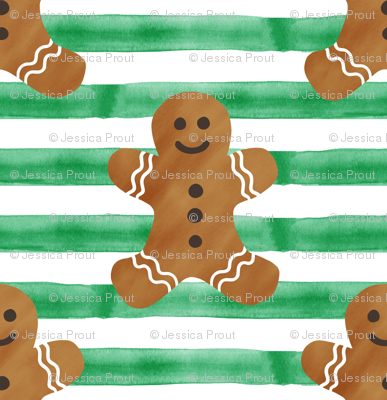 gingerbread man on green stripes