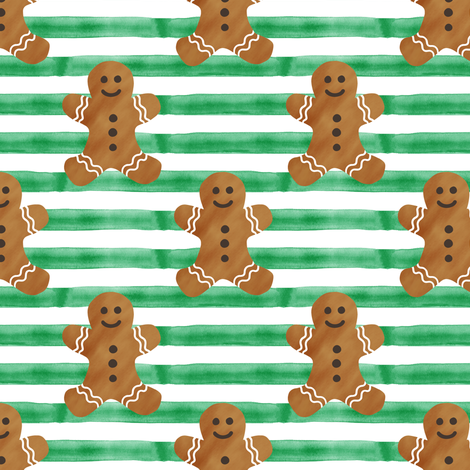 gingerbread man on green stripes fabric by littlearrowdesign on Spoonflower - custom fabric