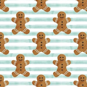gingerbread man on dark mint stripes