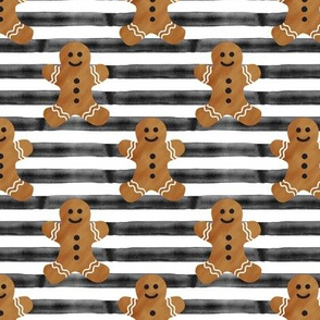 gingerbread man on black stripes