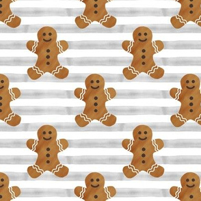 gingerbread man on grey stripes