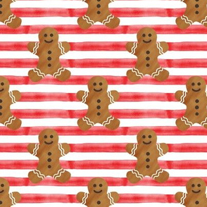 gingerbread man on red stripes
