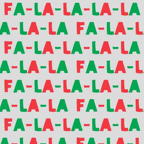 FA-LA-LA-LA-LA - red and green on light grey- holiday fabric fabric by littlearrowdesign on Spoonflower - custom fabric