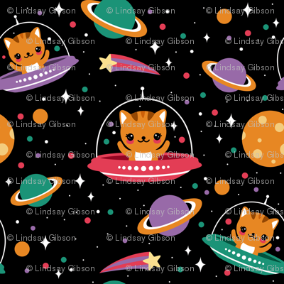 Space cats fabric emandsprout spoonflower for Space kitty fabric