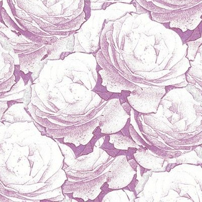 Roses Outlines Purple Upholstery Fabric