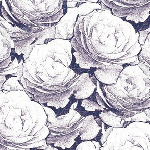 Roses Outline Navy Blue Upholstery Fabric