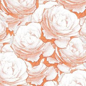 White Roses Outline Orange Upholstery Fabric