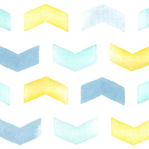 Chevron stamp in blue, green and yellow