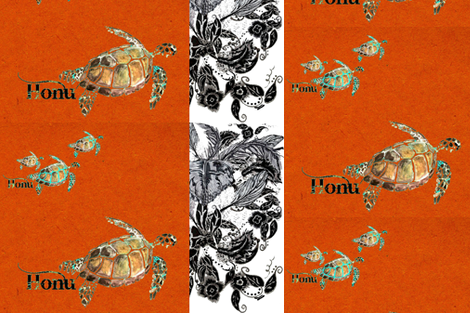 Honu Citrine Feathers fabric by hunnellekari on Spoonflower - custom fabric