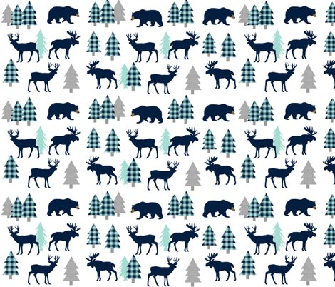 Rbear-moose-deer-navy-mint_trees1216x3000-white_shop_preview