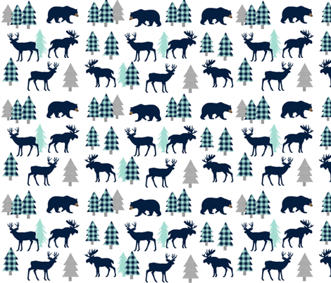 Woodland Animals - Navy + Mint Buffalo Plaid Baby Nursery Kids Children Baby Boy Bedding fabric by gingerlous on Spoonflower - custom fabric