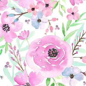 Spring Floral - Watercolor Flowers Pink Blue Garden Blooms Baby Girl Nursery GingerLous A
