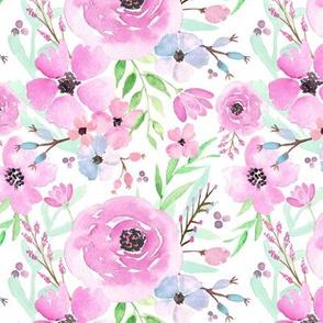 Spring Floral - Watercolor Flowers Pink Blue Garden Blooms Baby Girl Nursery GingerLous B