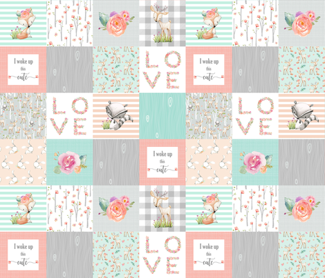 Woodland Animals Baby Girl Quilt Top - Deer Fox Raccoon Patchwork Wholecloth Baby Blanket Gray Mint Peach  fabric by gingerlous on Spoonflower - custom fabric