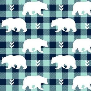 White Bears – Navy + Mint Buffalo Plaid Check Woodland Baby Nursery Bedding
