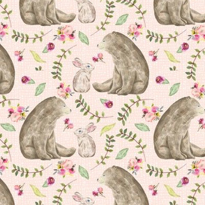 Bear & Bunny Friends (pink texture) - Floral Woodland Baby Girls Nursery Bedding GingerLous B