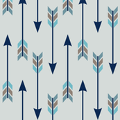 Arrow Run // Blue Ridge Collection - frost gray (large scale) navy blue brown grey boys room