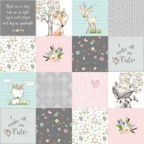 Woodland Friends Nursery Patchwork Quilt - I Woke Up This Cute Wholecloth Deer Fox Raccoon Bunny (Grey Pink) GingerLous