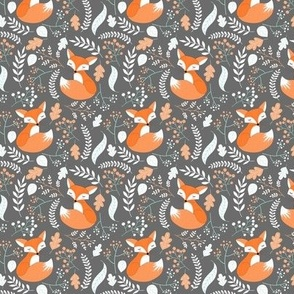 SMALLER Fox - Sleepy Foxes (grey stone) Baby Nursery Woodland Animals Kids Childrens Bedding ST2