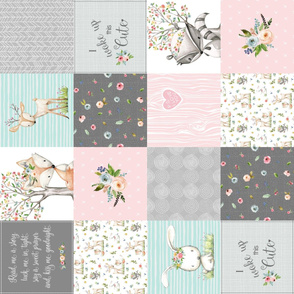Woodland Friends Nursery Patchwork Quilt ROTATED- I Woke Up This Cute Wholecloth Deer Fox Raccoon Bunny (Grey Pink) GingerLous