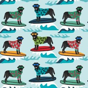 black labrador fabric lab surfing design summer tropical surf fabric