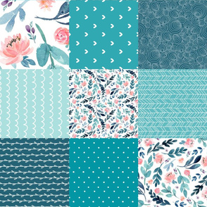 Turquoise Floral Quilt Panel ROTATED - Cheater Quilt, Patchwork Blush Peach Watercolor Peonies & Teal/Blue Leaves. Ginger Lous