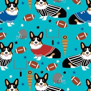 tricolored corgi football design cute corgis and touchdowns fabric - turquoise