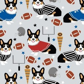 tricolored corgi football design cute corgis and touchdowns fabric - grey