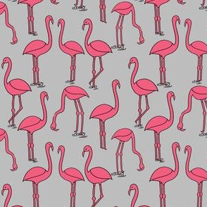 Flamingo fabric //- Grey by Andrea Lauren smaller scale