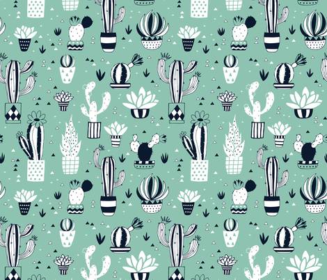 Cacti in a pot on green fabric by lidiebug on Spoonflower - custom fabric