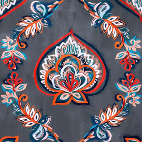 Red & Blue Floral Ogees on Textured Grey - extra large