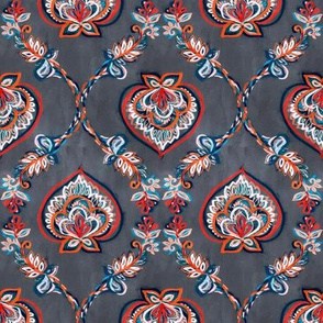 Red & Blue Floral Ogees on Textured Grey - small