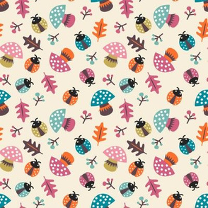 Autumn mushrooms, leaves and berries vintage colourway
