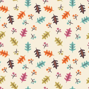 Autumn leaves and berries vintage colourway