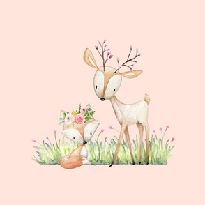 Deer & Fox Pillow Front (baby pink) - Fat Quarter size